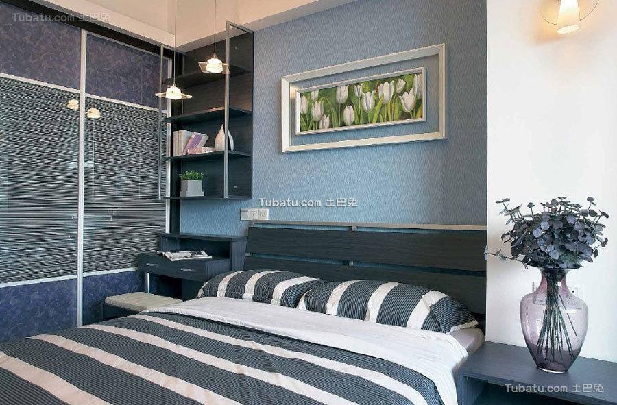 蓝灰色现代家装卧室设计