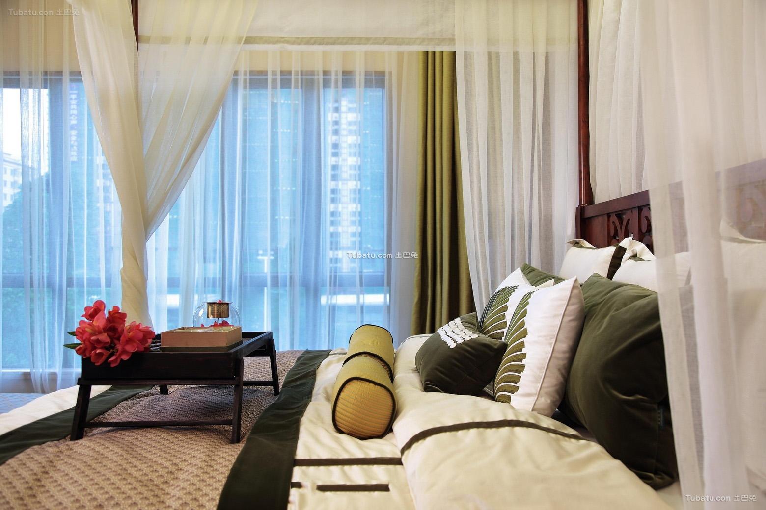 东南亚装修设计卧室窗帘欣赏