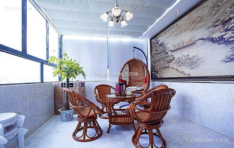 休闲中式家居阳台设计