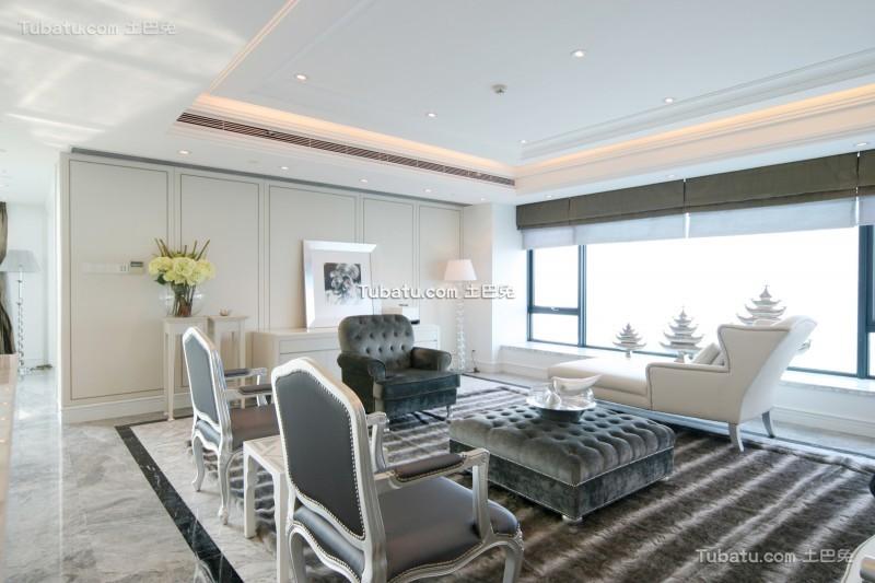 时尚质感简欧风格客厅装潢设计