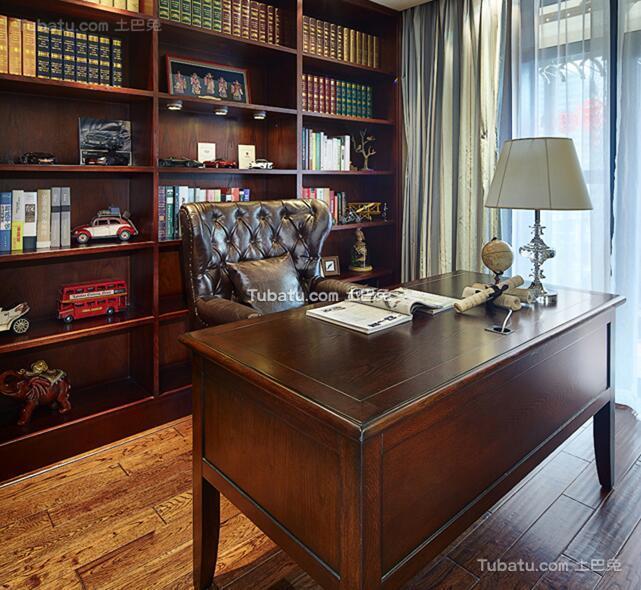 美式风格复古书房装饰图片