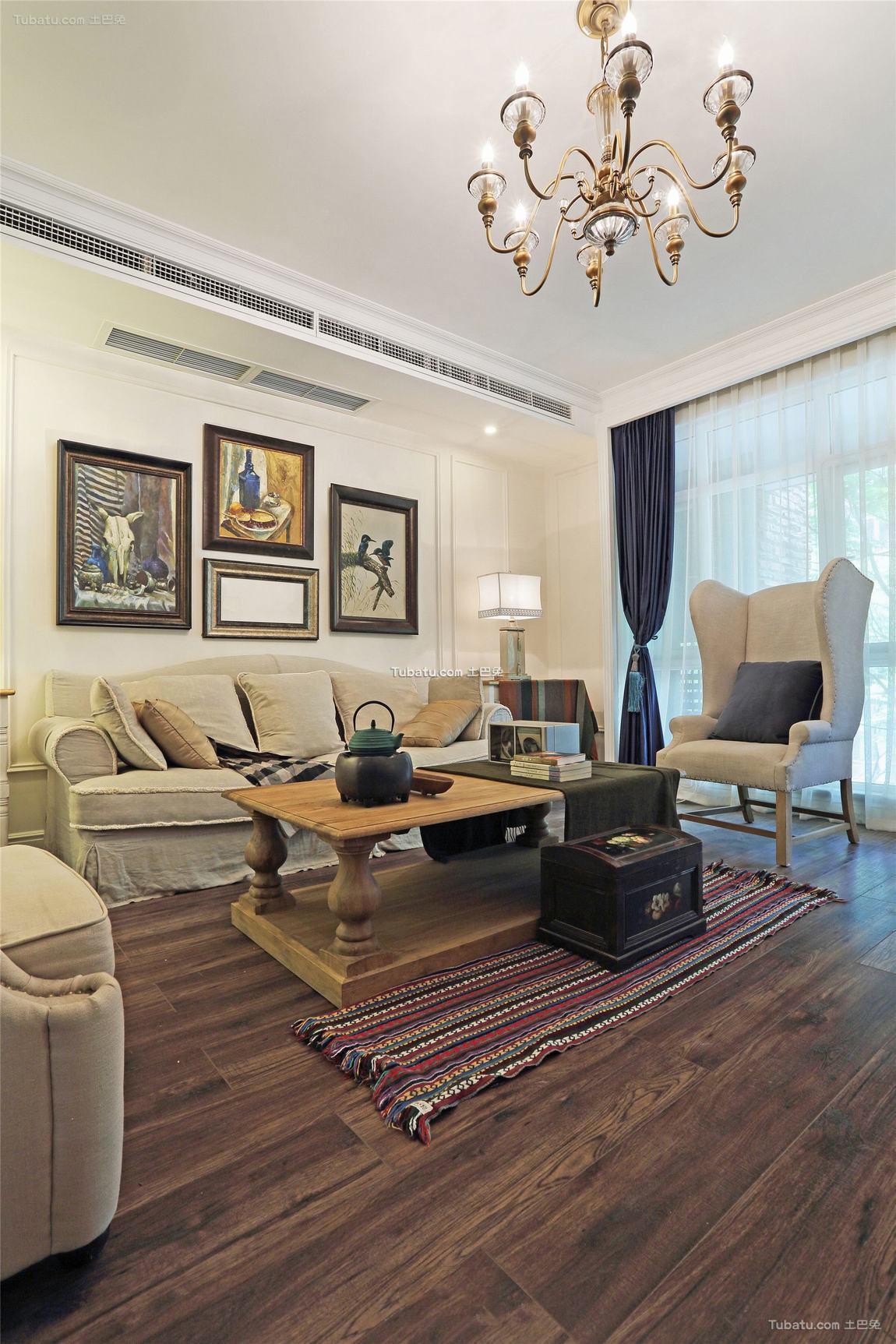 美式装修设计三室两厅效果图欣赏