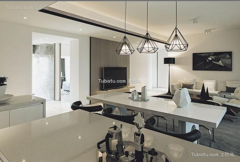 黑白极简风格公寓餐厅设计装饰效果图