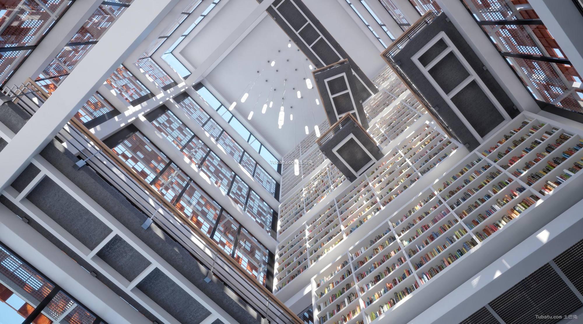图书馆设计吊顶装饰图片欣赏