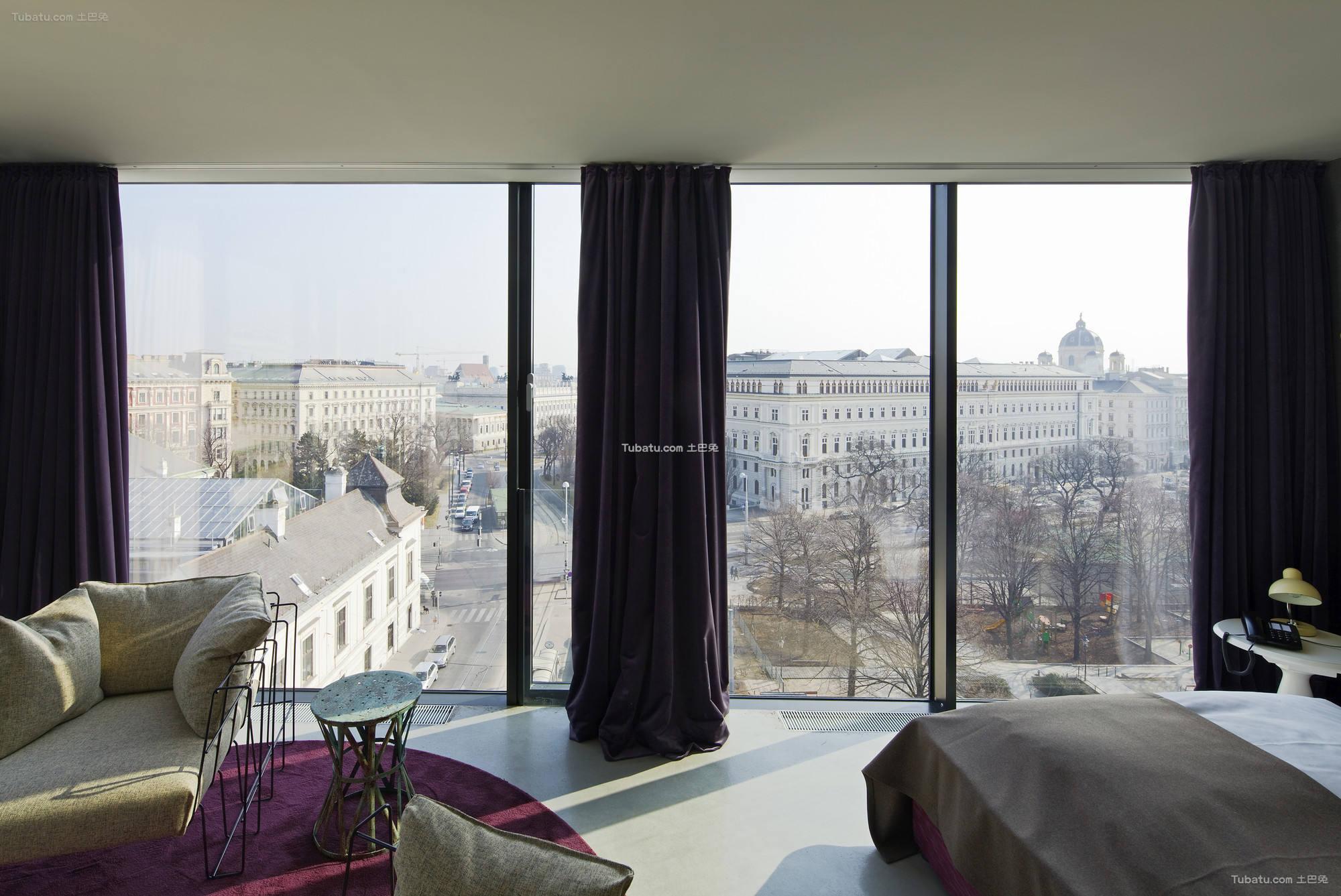 酒店设计室内落地窗装修效果图