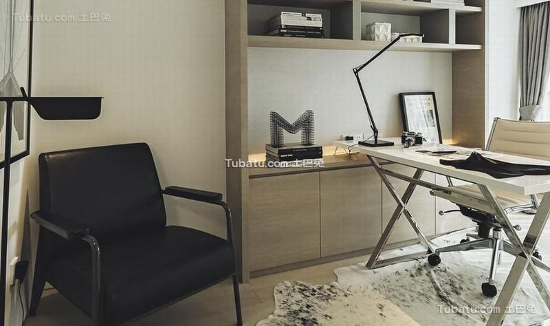 黑白极简风格公寓书房装饰效果图