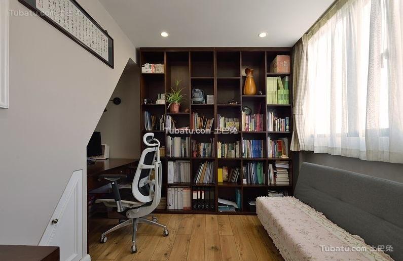 复古美式风格复式书房装饰效果图