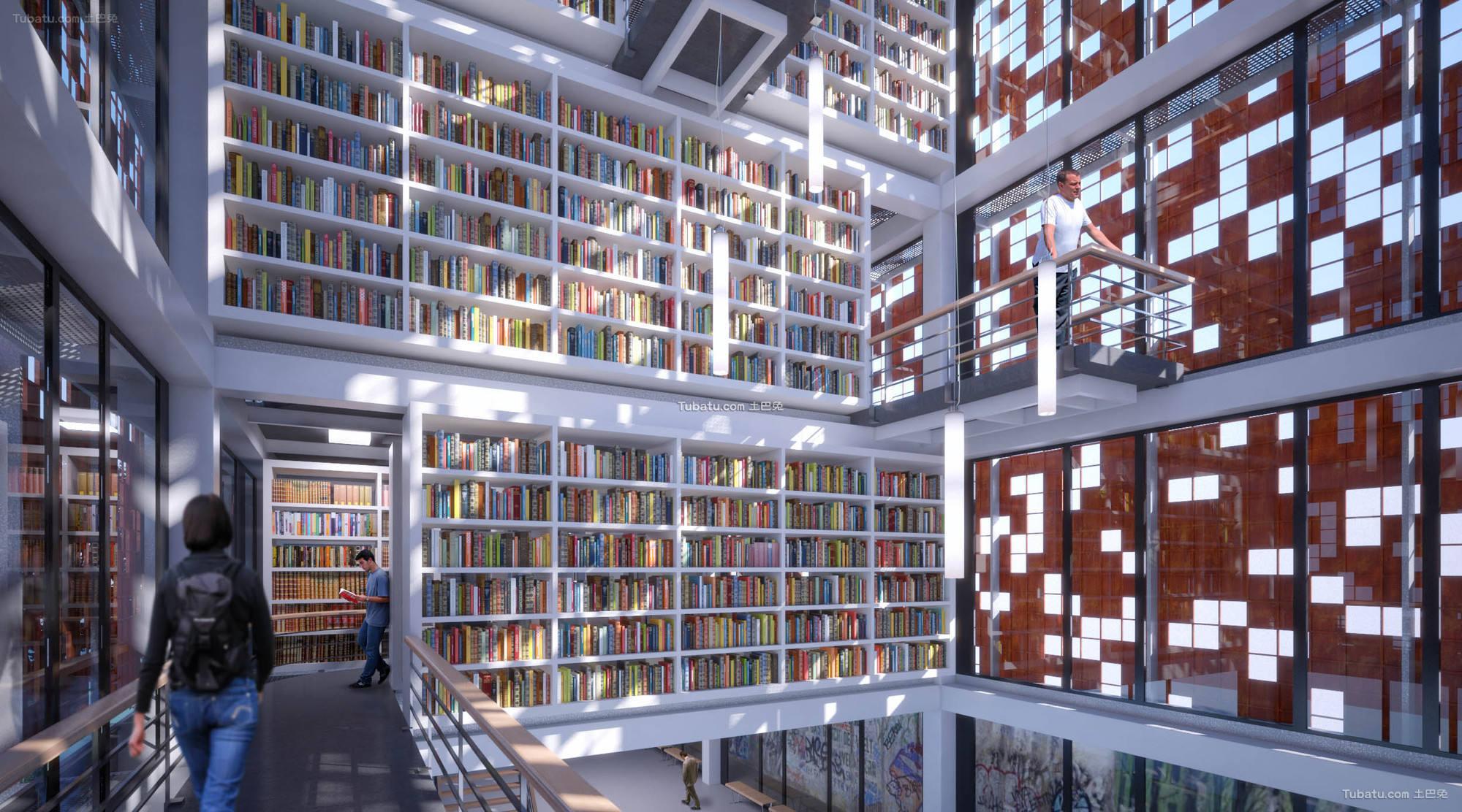 现代设计图书馆室内图片