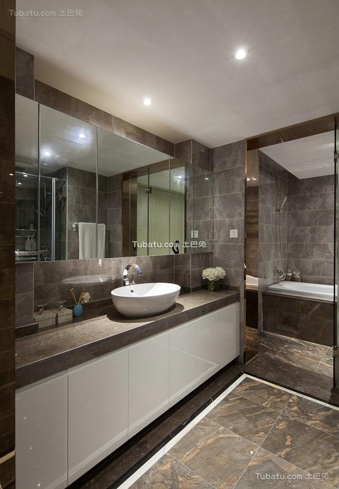 现代复古风格设计卫生间效果图