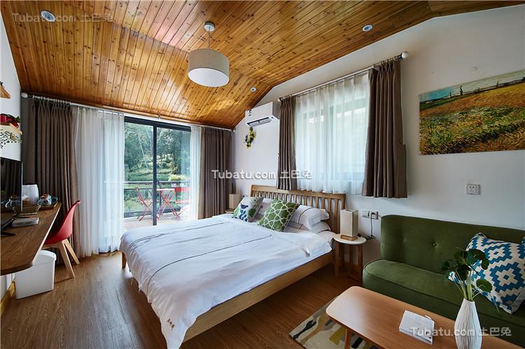 北欧绿色清新卧室布置