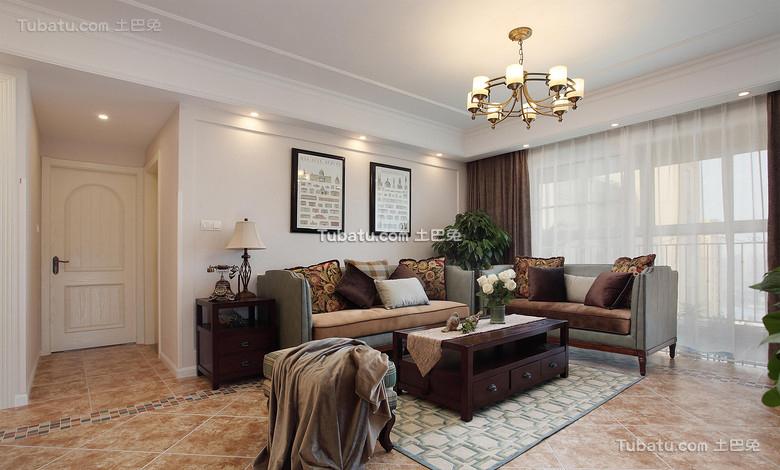 美式清新四居室装修设计效果图