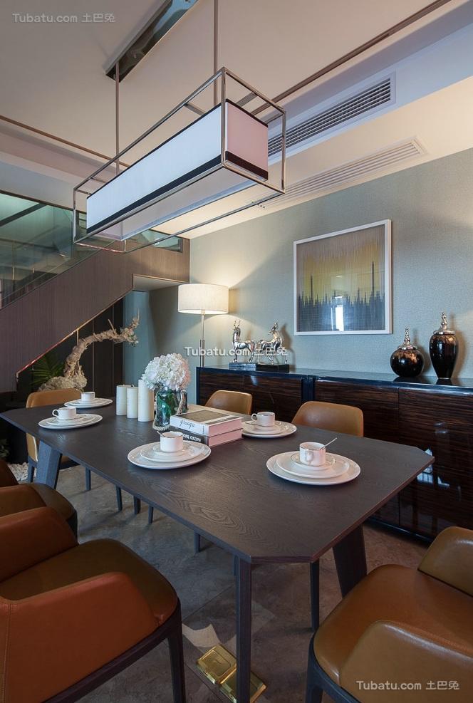 现代复古风格复式餐厅装饰效果图