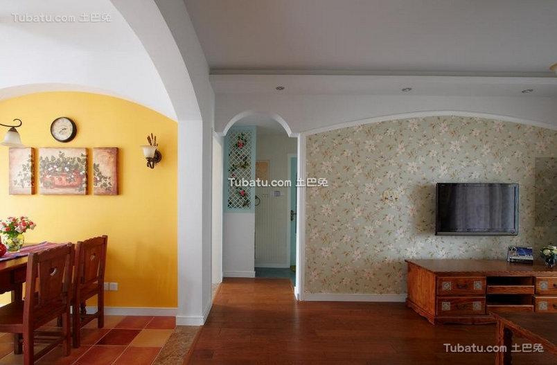 田园地中海风格家居背景墙设计效果图
