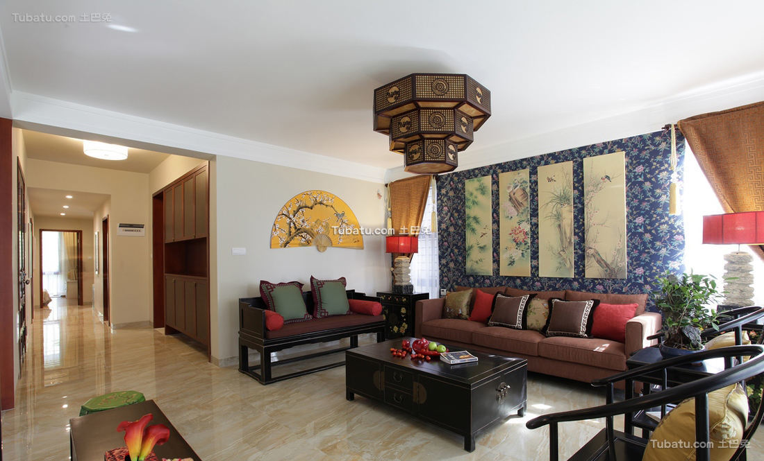 中式古典风格别墅客厅装饰效果图