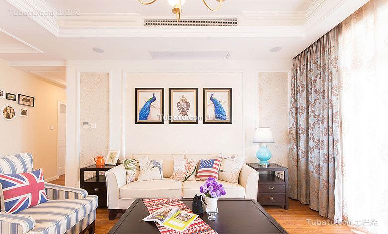 美式复古别墅客厅设计效果图片