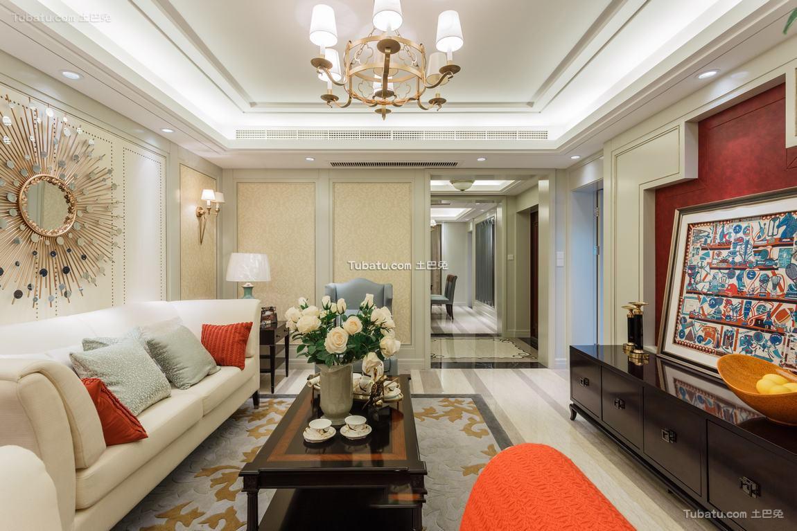 美式风格三居室内装修效果图片