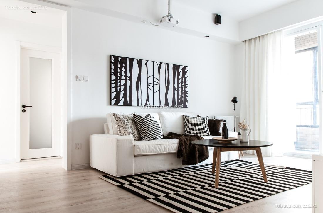 时尚黑白搭配北欧二居设计