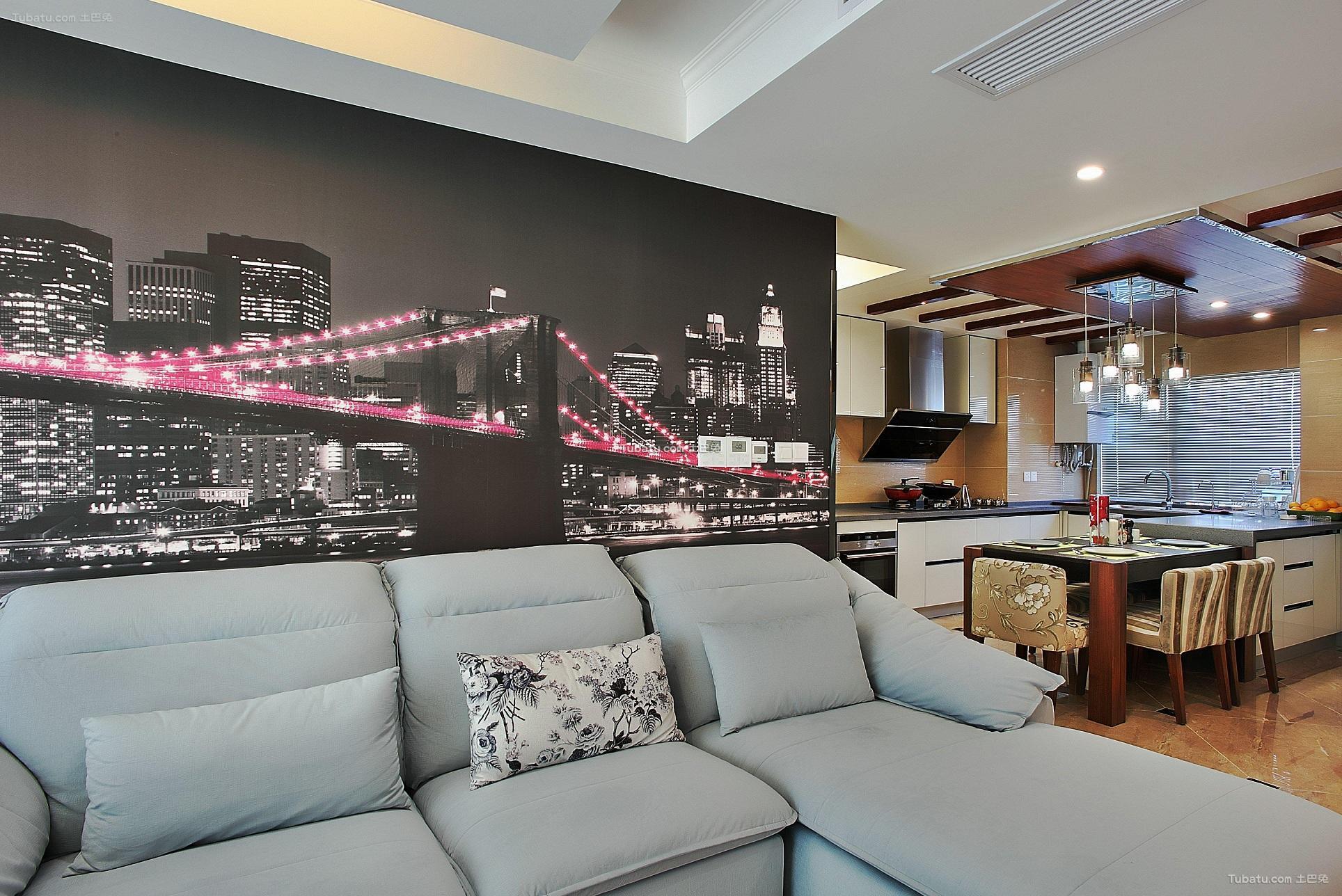 100平现代三居室家装设计效果图