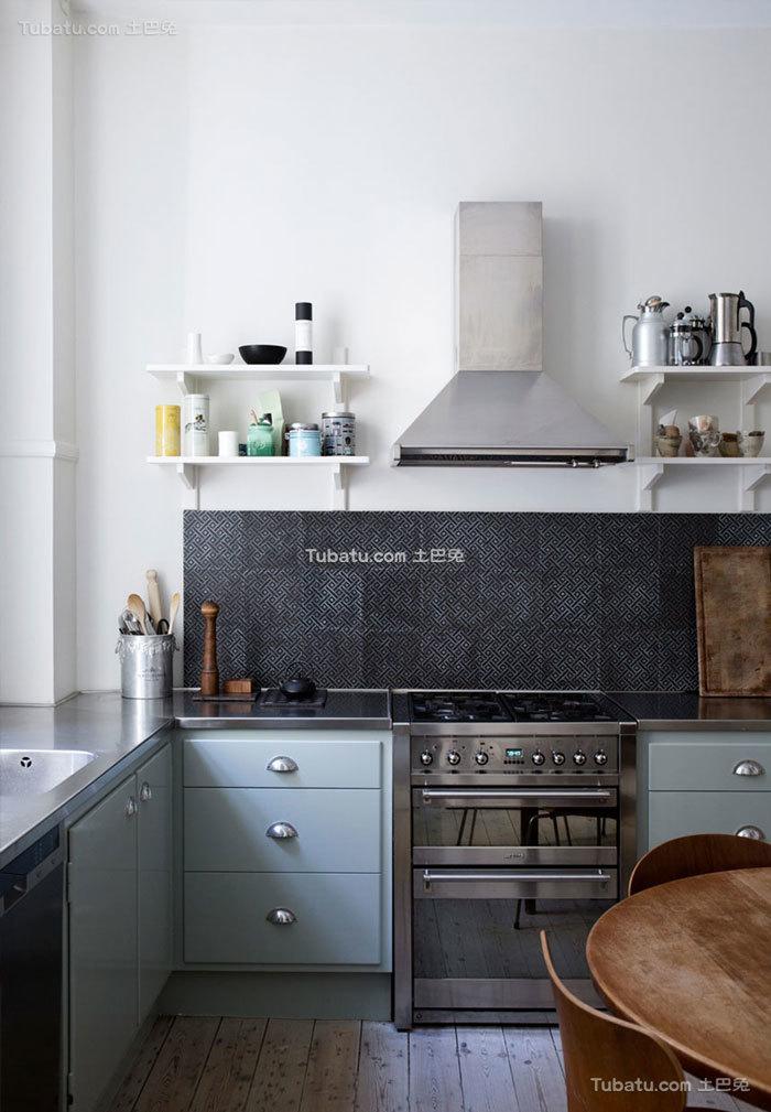 灰蓝色北欧时尚家居厨房