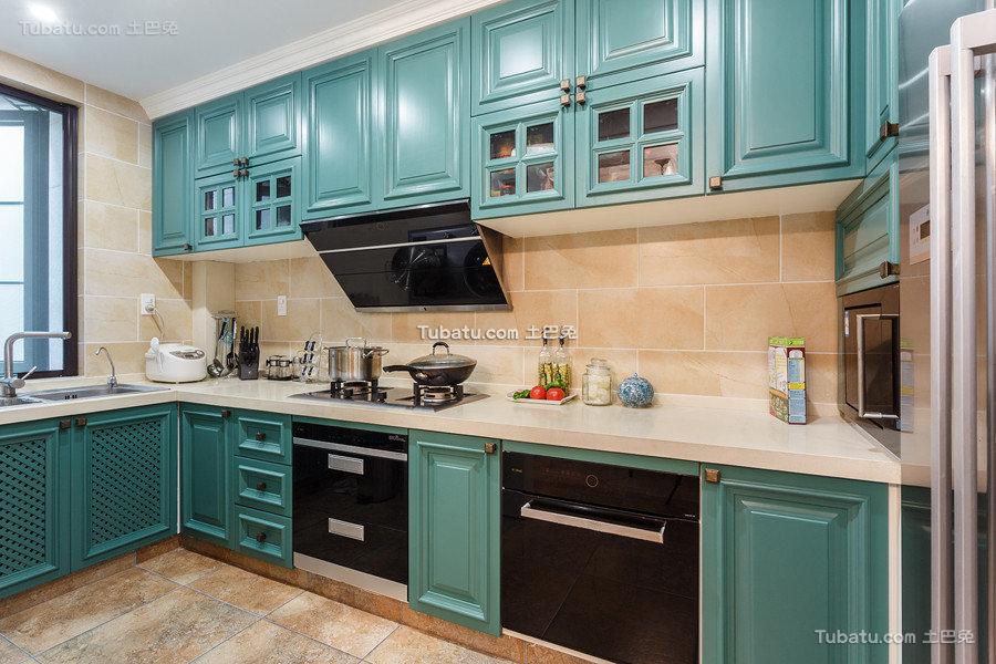 唯美高端蓝绿色美式家装厨房