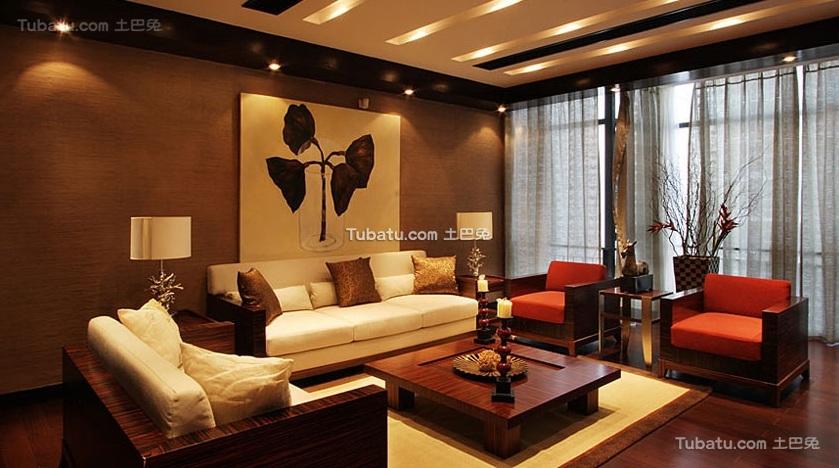 中式混搭风格家居客厅装修设计效果图