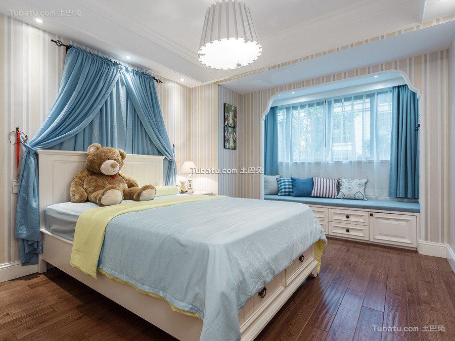 唯美蓝色美式儿童房间装修
