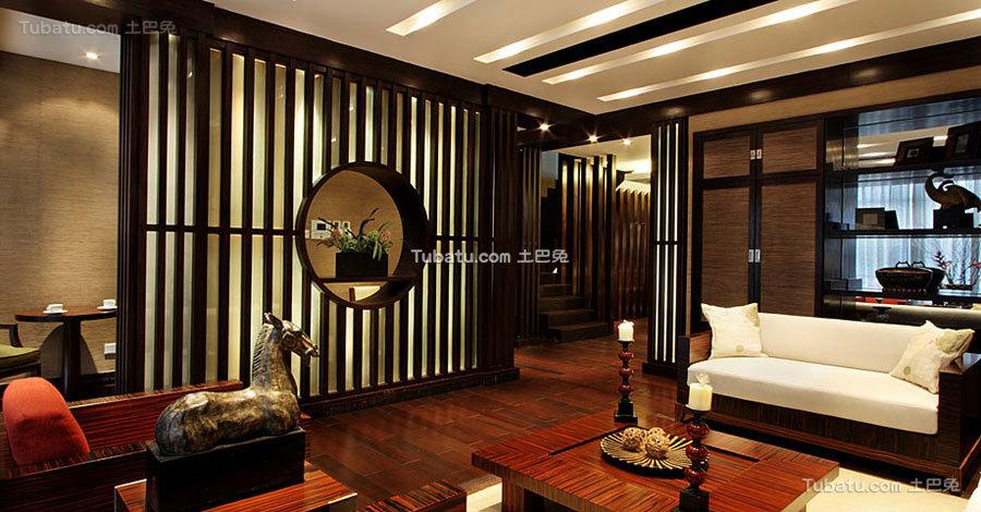 中式混搭风格三居装修设计效果图
