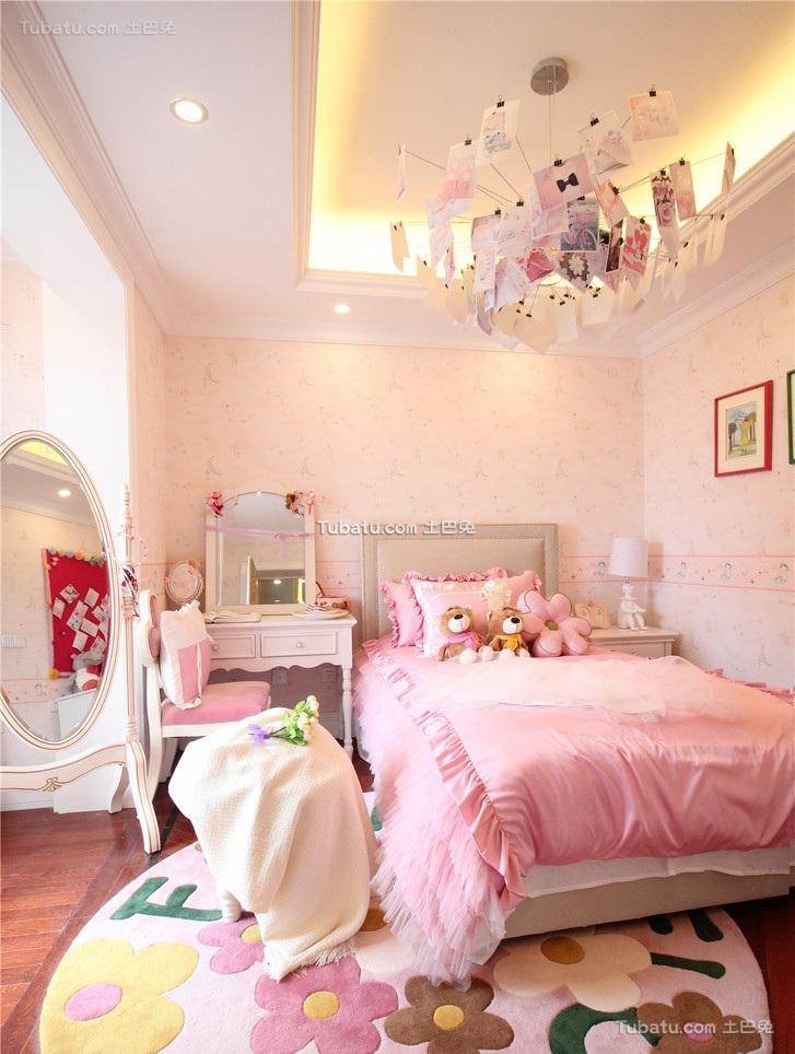 欧式粉色小孩儿童房设计