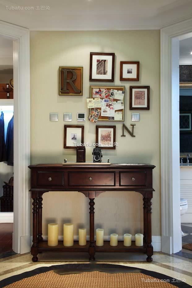 乡村田园风格别墅室内相片墙效果图