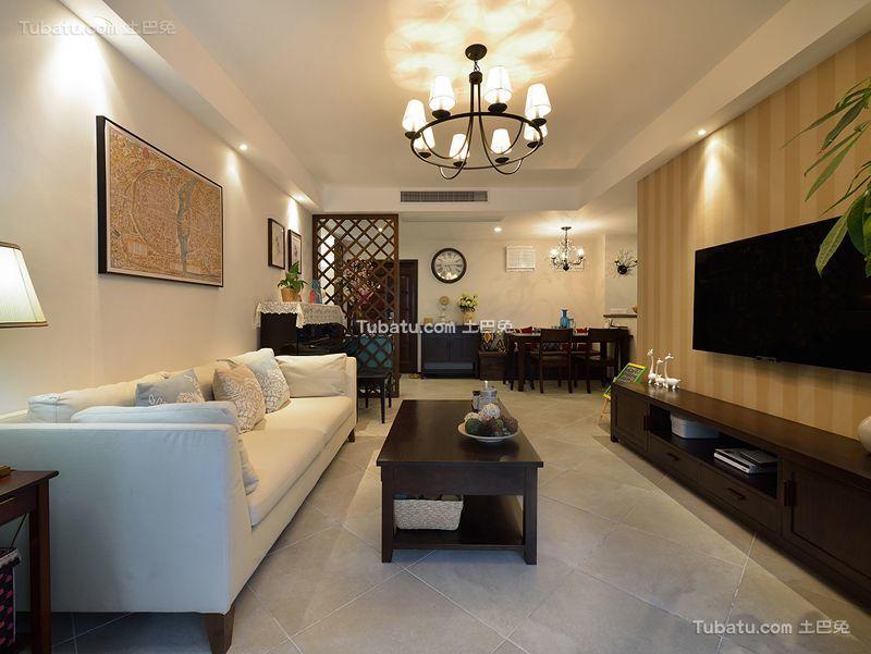 美式风格两室两厅设计装修效果图