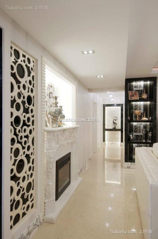白色浮雕简欧过道装饰设计