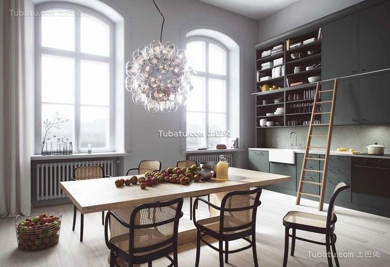 简欧复式室内厨房吧台设计效果图