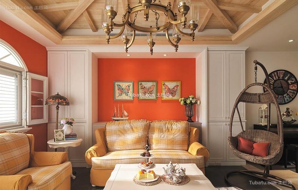 简欧复式家居客厅设计装饰效果图片