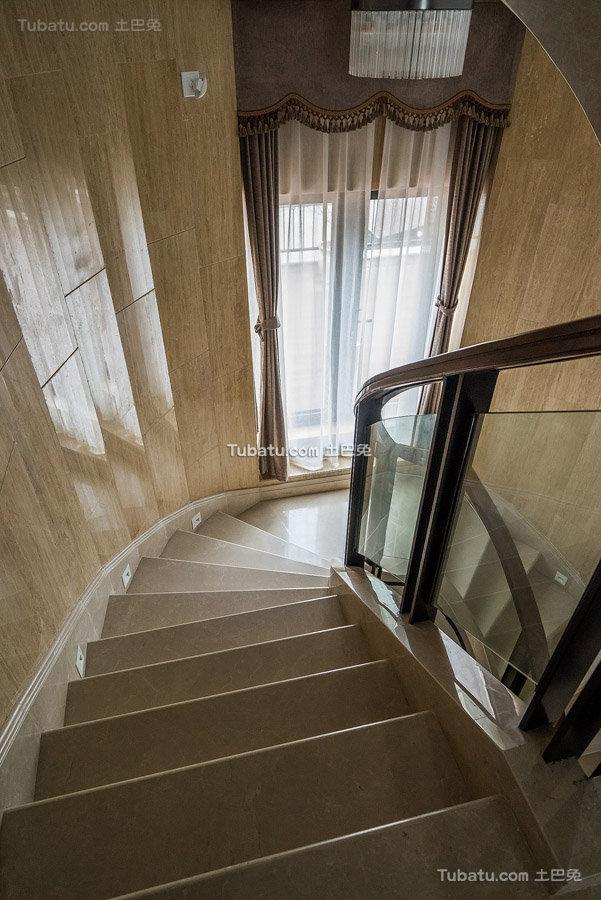 现代大理石旋转楼梯图片