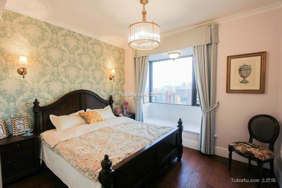 清新美式卧室布置效果图