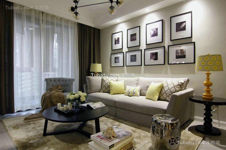 美式风格简约室内客厅设计装修图片