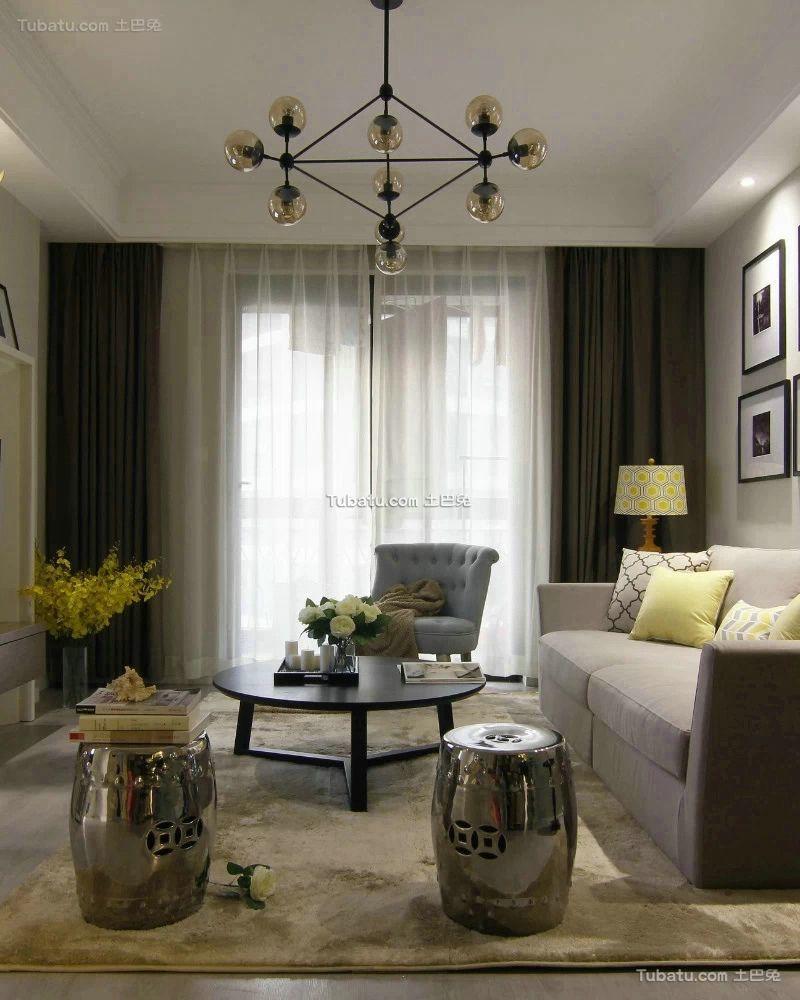 美式风格简约三居室装修图片