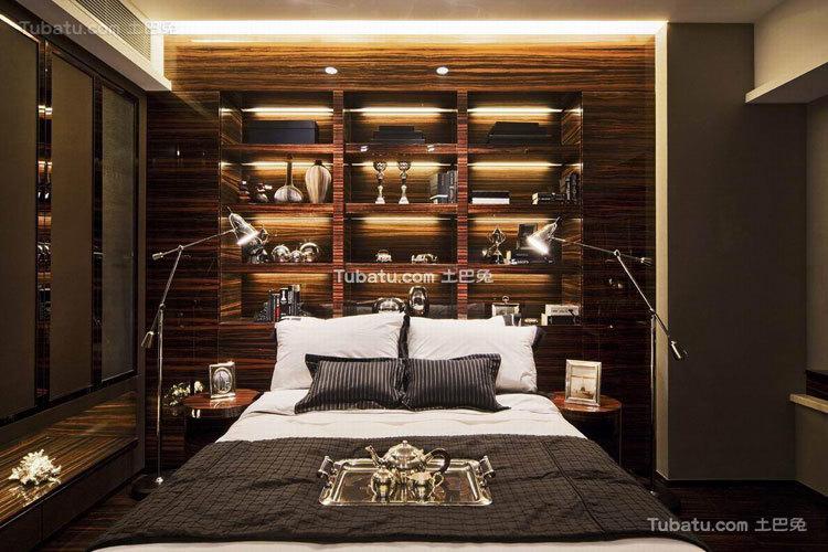 沉稳新中式卧室睡房设计