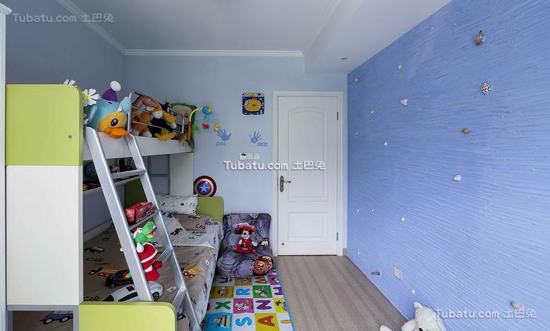 蓝色现代儿童房效果图