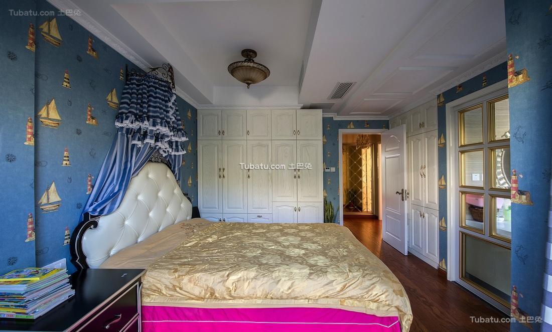 蓝色欧式儿童房效果图