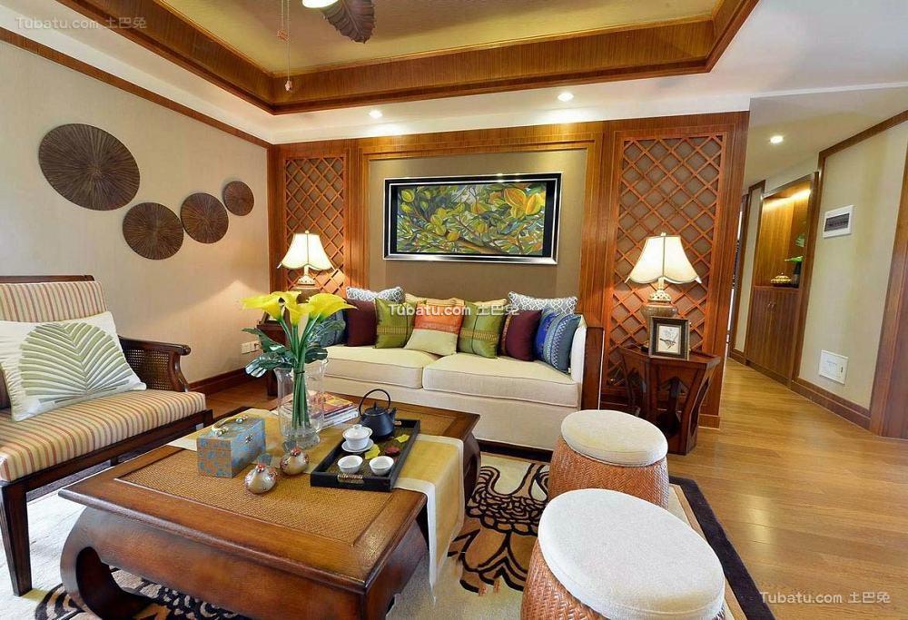 东南亚风格别墅室内客厅效果图片
