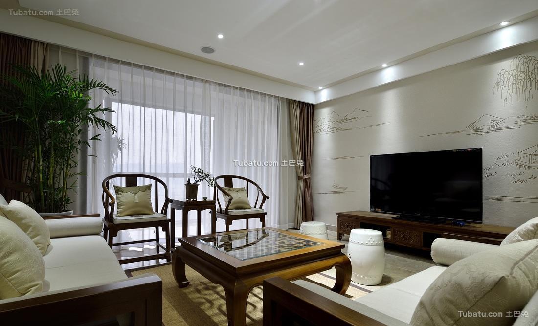 儒雅简中式三居设计装修