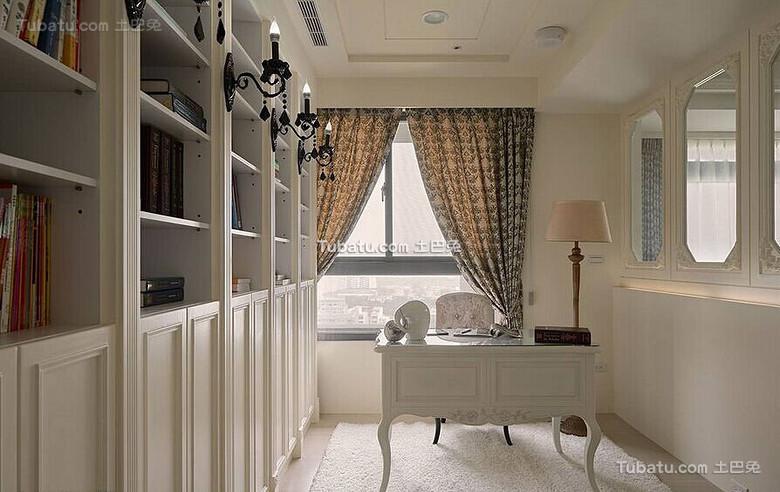白色唯美简欧书房设计