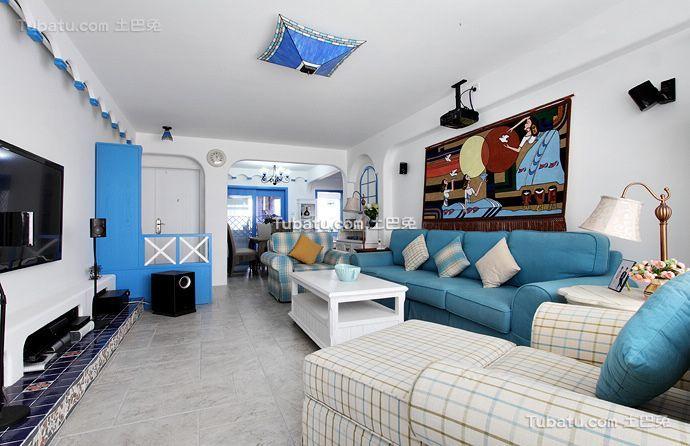 现代地中海风格两居室装修效果图