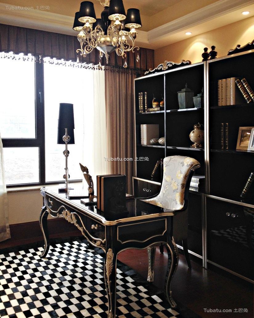 黑色古典欧式书房设计