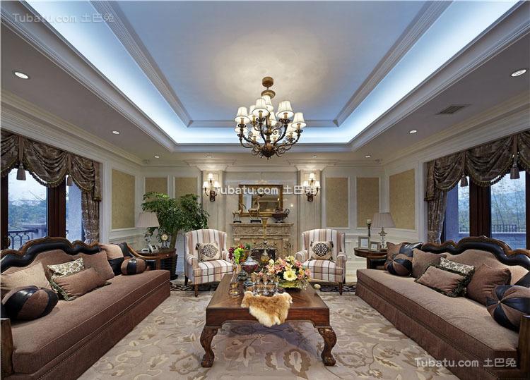 美式四居室家装设计效果图片