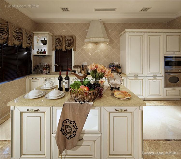 美式厨房吧台家装设计效果图片