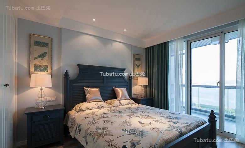 蓝色复古美式卧室装饰图