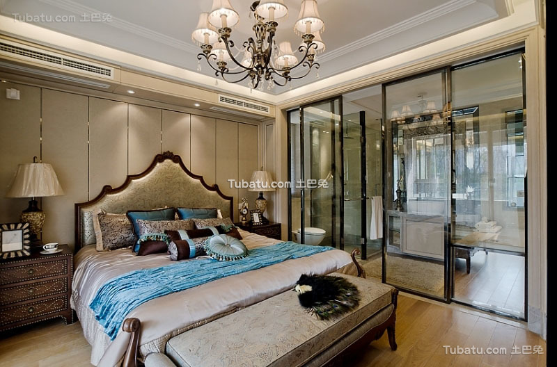 美式风格设计复式家居卧室效果图