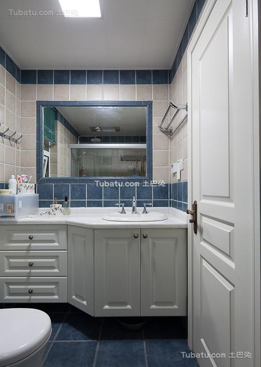 蓝色美式卫生间